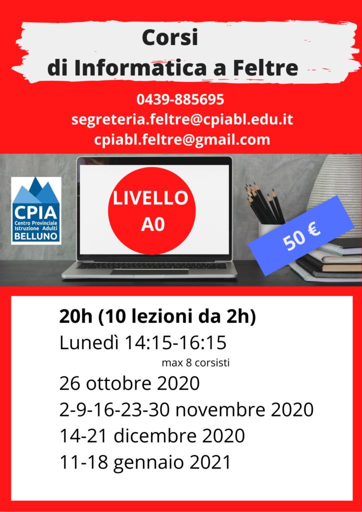 volantino rosso corsi di informatica a Feltre livello A0 lunedì dalle 14 e 15 alle 16 e quindici parte il 26 ottobre